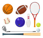 Vector sports equipment in cartoon style. Balls, rackets, golf sticks and other vector illustrations. Sport equipment for golf and tennis Stock Photo