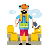 Vector Sports fan. Flat style colorful Cartoon illustration. Royalty Free Stock Photos