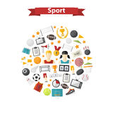 Vector sports icons in circle Stock Image