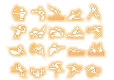 Vector sports icons dotted. Athlets sport symbols may be use your logos and art works, dotted background Royalty Free Stock Photography