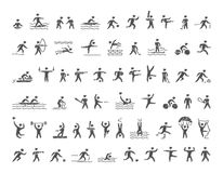 Vector sports icons set. Hatching shapes athletes. Vector sports icons set. Hatching shapes athletes for popular sports. Cool icons sportsmen. Vector pencil Royalty Free Stock Photography