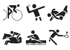 Vector sports symbols 2. Athletes sport symbols may be use your logos and art works Royalty Free Stock Photo