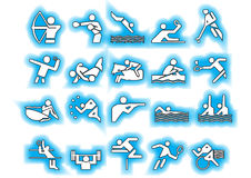 Vector sports symbols blue. Athlets sport symbols may be use your logos and art works, blue background Stock Photography