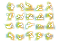 Vector sports symbols colorful. Athlets sport symbols may be use your logos and art works, colorful background, vector Stock Photo