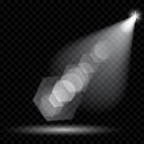 Vector spotlights. Illumination of the scene. Transparent light Royalty Free Stock Photos