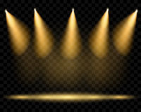Vector spotlights. Illumination of the scene. Transparent light stock illustration