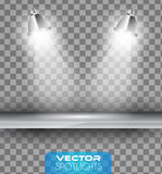 Vector Spotlights scene with different source of lights pointing to the floor or shelf. Royalty Free Stock Images