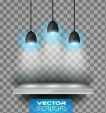 Vector Spotlights scene with different source of lights pointing to the floor or shelf. Royalty Free Stock Image