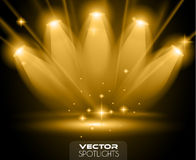 Vector Spotlights scene with different source of lights pointing to the floor Royalty Free Stock Photography