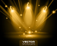 Vector Spotlights scene with different source of lights pointing to the floor Stock Photos