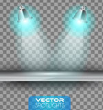 Vector Spotlights scene with different source of lights pointing to the floor or shelf Stock Images