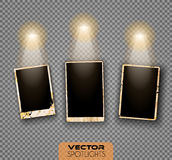 Vector Spotlights scene with different source of lights pointing to the floor or shelf Royalty Free Stock Photos