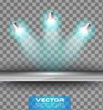 Vector Spotlights scene with different source of lights pointing to the floor or shelf Royalty Free Stock Photography