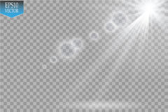 Vector Spotlights. Scene. Light Effects.Vector transparent sunlight special lens flare light effect. Sun flash with rays. Vector Spotlights. Scene. Light Effects Royalty Free Stock Image