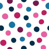 Vector spots seamless pattern background of hand drawn polka dots, random spots in various sizes. Stylish abstract vector illustration