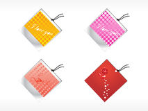 Vector sppoted tags in purple, yellow, and red Royalty Free Stock Photos