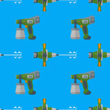 Vector spray mixer seamless pattern. Vector colorful flat design construction hand mixer and fine spray devices electrical instruments tools home remodel Royalty Free Stock Photo
