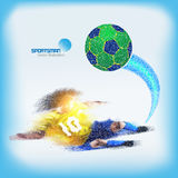 Vector: Spray texture football player, No. 10 player tackle ball Stock Photos