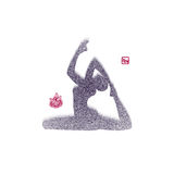 Vector: Spray texture Woman in yoga pose icon Stock Images