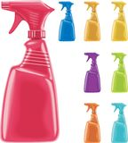 Vector sprayer bottles. In 8 colors Royalty Free Stock Photography