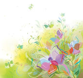 Vector spring background, plants and butterflies. Stock Photography
