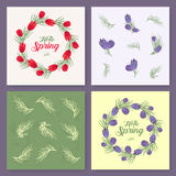 Vector spring background. Spring time. Spring flowers and leaves on tree. Round frame. Handwritten brush lettering. Vector card te Royalty Free Stock Images