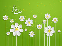 Vector spring background with volumetric flowers. Paper cut flowers on green background. With butterfly Royalty Free Stock Image