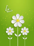 Vector spring background with volumetric flowers. Paper cut flowers on green background. With butterfly Stock Photo