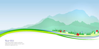 Vector Spring banner with Mont Blanc silhouette Stock Images