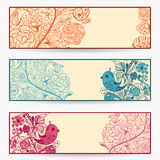 Spring Banners. 3 floral Spring banners with birds Royalty Free Stock Photos