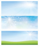 Vector spring banners. Vector spring banners, blue sky and green grass Royalty Free Stock Image