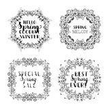 Vector spring blossoms vintage frames. Royalty Free Stock Photos