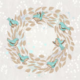 Vector spring card with floral wreath and birds Stock Images