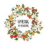 Vector spring card. With flowers and leaves on tree with place for your text royalty free illustration
