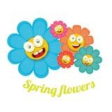 Vector spring cartoon flowers  on white Royalty Free Stock Photos