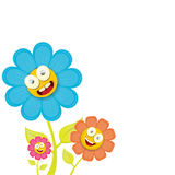 Vector spring cartoon flowers  on white Stock Images