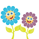 Vector spring cartoon flowers  on white Royalty Free Stock Image