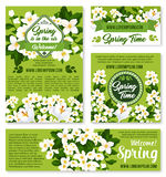 Vector spring floral design for holiday greetings. Happy Spring vector greeting poster and banners set with springtime holiday quotes. Green nature design of Stock Image