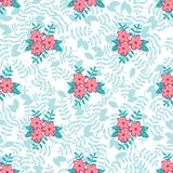Vector spring floral seamless pattern background leaves flowers royalty free illustration
