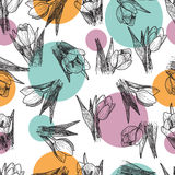 Vector Spring flowers. Floral seamless pattern. Vintage background with Hand Drawn Tulips. Ink pen drawing Royalty Free Stock Photography