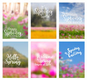 Vector spring flowers ideas concept with positive quotes. Spring flowers ideas concept with positive quotes, Annual report brochure flyer design template vector Royalty Free Stock Photo