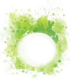 Vector spring frame, rabbits in grass,  green nature background. Stock Image