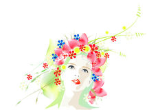 Vector spring girl Stock Photo