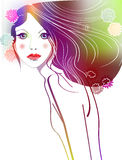 Vector spring girl Stock Images