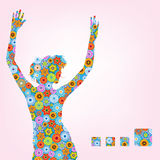 Vector spring girl. Female portrait,dancing young  woman with flowers Stock Images