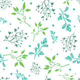 Vector Spring Green Braches on White Seamless Royalty Free Stock Image