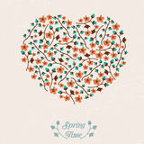 Vector spring greeting card with flowers Royalty Free Stock Image