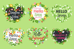Vector spring greeting icons of heart flowers. Spring greeting vector icons and wreath of flowers. Hello Spring quotes set design for springtime holidays. Garden Royalty Free Stock Photo