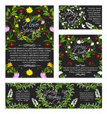 Vector spring greeting sale banner, flowers poster. Spring banners and posters set for springtime holiday greetings. Vector quotes of Hello Spring and Love Stock Photo