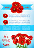 Vector spring holiday poster with poppy flowers Royalty Free Stock Photos